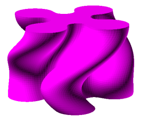 Variable Twist Extrusion of a Rounded Union in ImplicitCAD