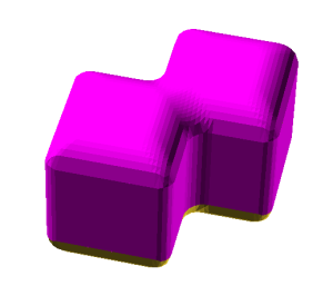 A Rounded Extrusion of a Rounded Union of Rounded Squares in ImplicitCAD